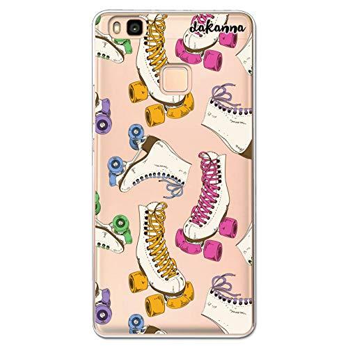 dakanna Funda Compatible con [ Huawei P9 Lite ] de Silicona Flexible, Dibujo Diseño [ Patrón Patines Retro ], Color [Fondo Transparente] Carcasa Case Cover de Gel TPU para Smartphone