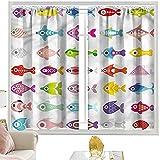 Cortinas para barra de bolsillo, acuario, diseño de peces coloridos con aislamiento térmico de 42 x 84 pulgadas