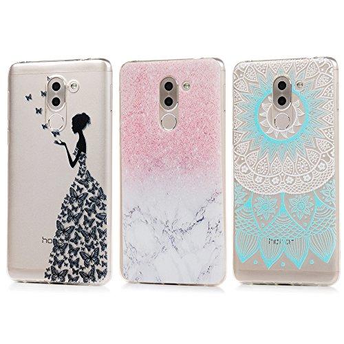 3 x Huawei Honor 6X Hülle TPU Soft Tasche Weiche CASE KASOS Handyhülle Schutzhülle Schale Protective Cover Silicone Taschen IMD Technologie, Blau Gradient Totem + Marmor + Mädchen
