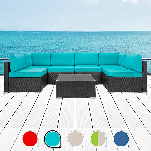 Walsunny 7pcs Patio Outdoor Furniture Sets,Low Back All-Weather Rattan Sectional Sofa with Tea Table&Washable Couch Cushions (Black Rattan)(Blue)…
