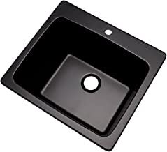 """Dekor Sinks 42199NSC Westworth Composite Utility Sink with One Hole, 25"""", Black Natural Stone"""