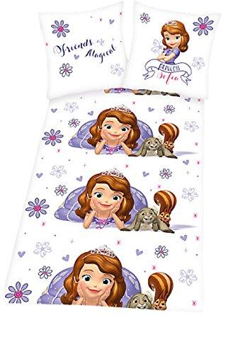 kompatibel mit Sofia die Erste - Kinderbettwäsche - Bettwäsche - witzige Bettwäsche - Gr. 80 x 80 cm, Bettbezug: 135 x 200 cm / Material: 100 % Baumwolle / waschbar bei 60°C, trocknergeeignet