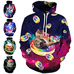 Cat and Donut Galaxy Allover Printed Hoodie Hooded Sweatshirt