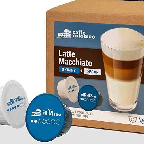 Caffè Colosseo - Latte Macchiato Ungesüßt & Entkoffeiniert - 60 Dolce Gusto Kompatible Kapseln (60 KapseIn, 30 Tassen)