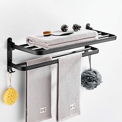 WSLWJH Toallero Soporte De Ducha Sin Perforaciones Accesorios De Baño Organizador De Pared Plegable Gancho Colgador Estante De Almacenamiento De Aluminio Negro Mate