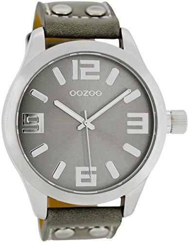 Oozoo Armbanduhr Basic Line mit Lederband 47 MM Silbergrau/Grau C1057