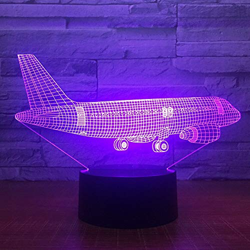 Wfmhra Big Air Plane 3D Light Table Lamp Optical Illusion Night Light 7 USB Bedroom Decor Gift Colors Changing Mood Lamp