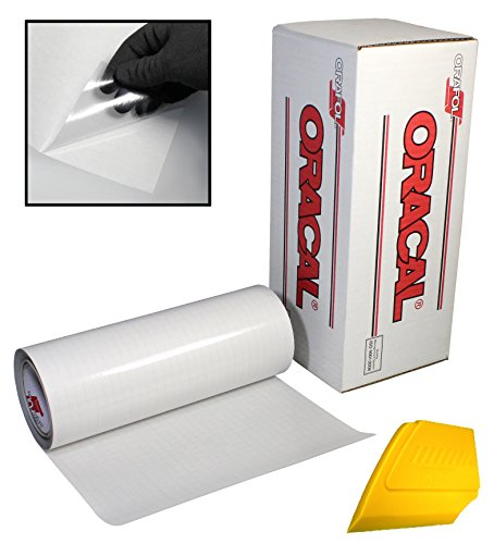 ORACAL Clear Transfer Paper Tape Roll w/Hard Yellow Detailer Squeegee (12' x 50ft)