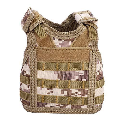 Mini táctica Militar Molle Chaleco para sofá, botella de cerveza, lata decoración de bebidas, botella de cerveza, chaleco táctico (camuflaje del desierto)