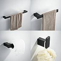 Juego de accesorios de baño Set, incluyendo kelelife 24pulgadas toallero de barra, toallero, gancho, tejido portarrollos, negro pintura