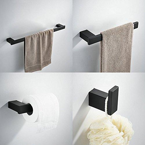 Juego de accesorios de baño de 4 piezas, incluye barra de toalla Kelelife de 24 pulgadas, toallero, gancho para bata, soporte para rollo de pañuelos, pintura negra