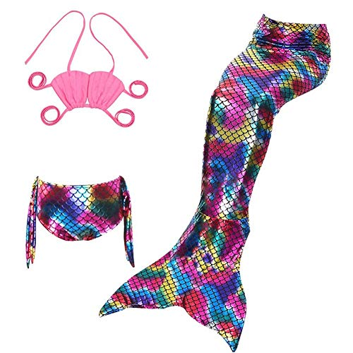 Lvbeis Ragazze Mare-Domestica Swimwear Mermaid Shell Costume da Bagno 3pcs Insiemi del Bikini per Nuotare,Pink,150cm