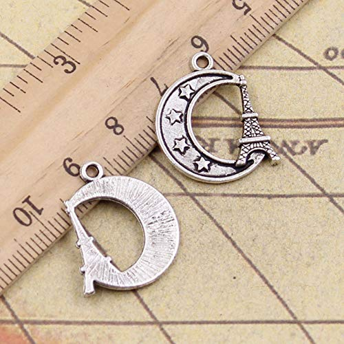 WANM 25Pcs Charms Eiffel Tower Paris Moon 22X19Mm Tibetan Bronze Silver Color Pendants Antique Jewelry Making Diy Handmade Craft