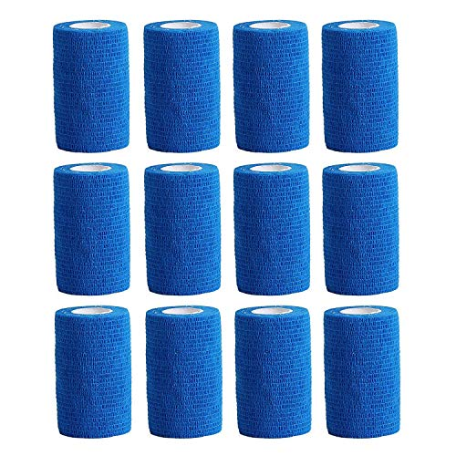 Haftbandage–12Rollen x 10cm x 4,5m, Erste Hilfe, Sport, Bandagen, COBOX Tierarztverband selbstklebende Bandagen, himmelblau