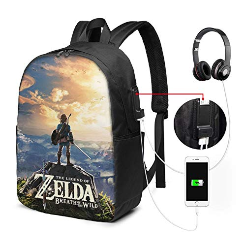 The Leg-End of Zel-Da 3D Printing 17in with USB Backpack,School Bag, Travel Bag, Mountaineering Bag