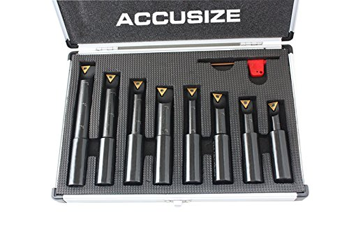 Accusize Industrial Tools 8 Pc 3/4'' Round Shank Indexable Boring Bar Set with Tcmt Carbide Inserts, 90 Degree, 2627-9108