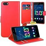 Wiko Fever 4G Handy Tasche, FoneExpert® Wallet Hülle Flip Cover Hüllen Etui Ledertasche Lederhülle Premium Schutzhülle für Wiko Fever 4G (Rot)