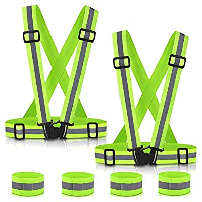 SAWNZC Reflective Vest Running Gear 2Pack, Adjustable Safety Vests Outdoor Reflective Belt High Visibility 4 Reflective Wristbands Straps for Night Cycling Motorcycle Dog Walk Jogging Construction