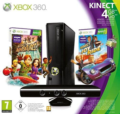 Microsoft Xbox 360 4GB Console with Kinect - juegos de PC (Xbox 360, DVD, 4 GB, 802.11b, 802.11g, 802.11n, 135W, Negro)
