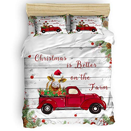 Set copripiumino, 3 pezzi comodo set di biancheria da letto lavabile, Natale è meglio sulla fattoria mucca su camion copripiumino in legno con chiusura a cerniera, 1 copripiumino + 2 fodere per cuscin