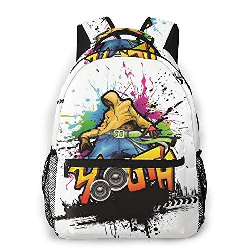Rucksack für Teens Männer Frauen Speicherpaket,Jugend junger Mann Hip-Hop-Kultur Graffiti-Kunst und Straßenkultur-Darsteller Bunte Grunge,Beiläufig Schülertasche Reise-Laptop-Tagesrucksack