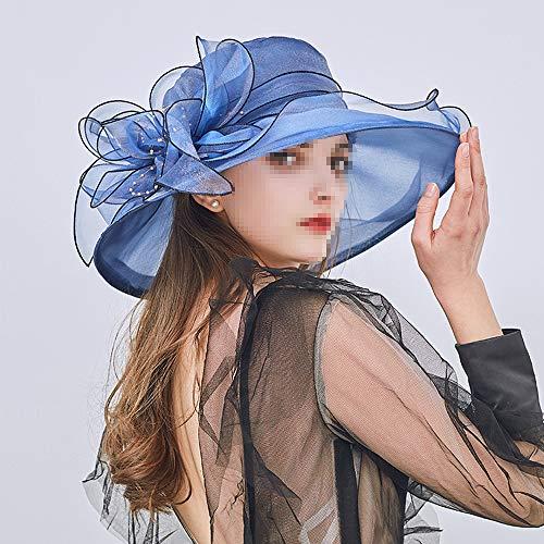 Women's Mesh Zonnehoeden, Strand Zonnescherm Petje voor de Top Hat, Geschikt voor Outdoor Leisure Shopping, Toerisme en Holiday Fotografie,Blue