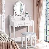 Mecor Coiffeuse avec Miroir Table de Maquillage Blanche Femme avec Tabouret,4 Tiroirs et Miroir Ovale Maison de Campagne