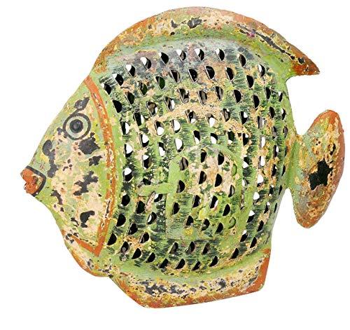 ETC dekorative ausgefallene Metallfigur Dekofigur Fisch zum Stellen in 3 möglichen Größen und 2 Farben (groß 43 x 7 x 37 cm, hellgrün)