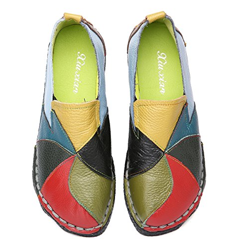 Socofy Loafer Flats for Women, Leather Casual Loafers Slip on Moccasin Driving Slippers Handmade Oxford Dress Shoes Green 7 M US