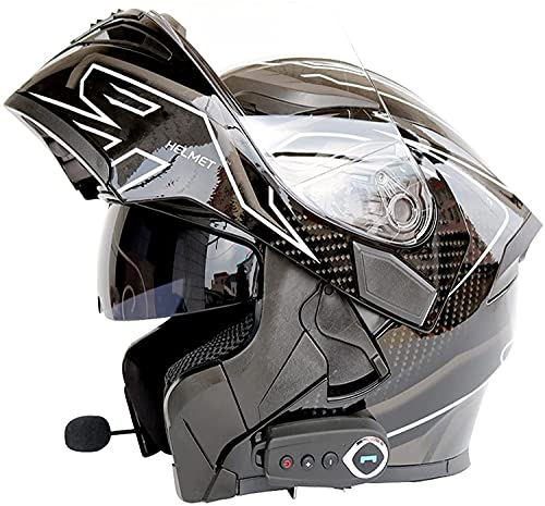 HSWYJJPFB Cascos de Moto Casco de Moto Hombre Crash Casco Modular abatible con Bluetooth, Casco de Motocicleta Aprobado por Dot/ECE con Doble Visera Casco abatible de Cara Completa Gris M-XXL Cascos