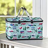 The Lakeside Collection Happy Camper Collapsible Insulated Tote Basket with Zipper Top Closure