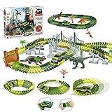 EPCHOO Autorennbahn Dinosaurier Track Dinosaurier Spielzeug, 157 Stück Auto Rennstrecken-Sets Jurassic Welt mit Dinosaurier Militärfahrzeuge Dino Spielzeug...
