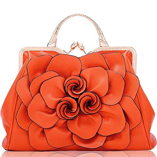 CZHJG Rucksack Tasche Frau Rose Blume Dame Handtasche Mode Lässig Umhängetasche Orange