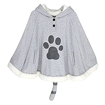 KINOMOTO Game Cat Atsume Hooded Cape Cosplay Costume Gray Cat Cotton Cloak Poncho
