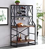 HOMYSHOPY Wine Bakers Rack, Industrial Wine Rack Table with Stemware Holder and Storage Ho...