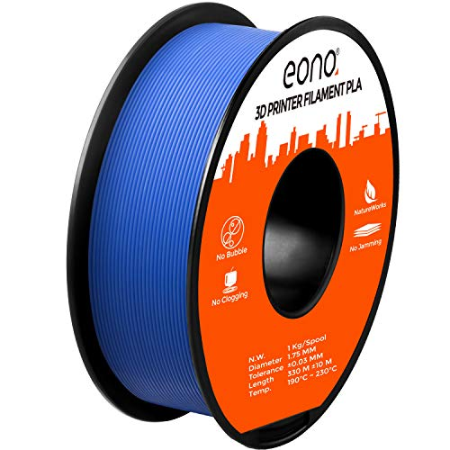 Eono by Amazon 3D Printer PLA Filament, Tangle-Free with 0.03 mm Dimensional Accuracy, 1.75 mm, 1 kg Spool,Blue
