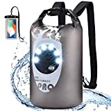RUNACC Waterproof Dry Bag Backpack - with LED Solar Camping Light 20L Floating Kayak Dry Backpack with Waterproof Phone Bag & Power Bank Function for Kayaking Water Beach Travel
