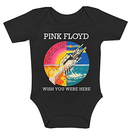 LaMAGLIERIA Body Bebè Pink Floyd Wish You were Here - Body 100% Algodon, 3-6 Meses, Negro