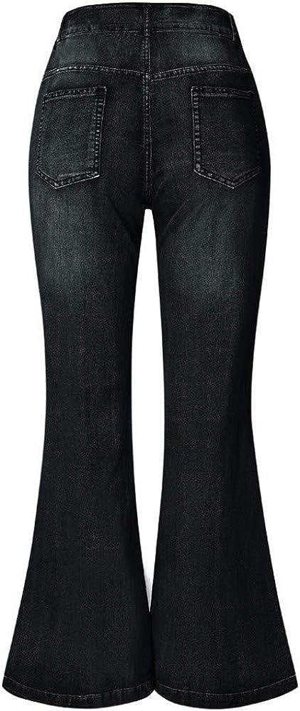 Pantalones Acampanados Pantalones Vaqueros de Mujer Tallas Grandes Pierna Ancha Pantalones Acampanados Tallas Grandes Ropa de Trabajo Elegante de Mezclilla