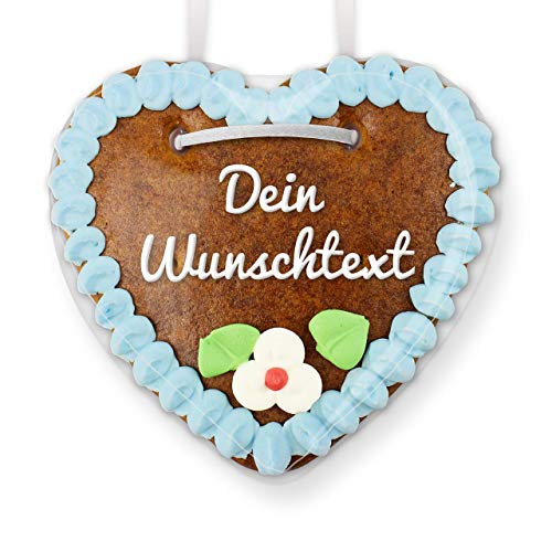 Lebkuchenherz individuell mit Wunschtext - Farbe: Blau - zum selbst Beschriften für den Freund, 15cm | LEBKUCHEN-WELT