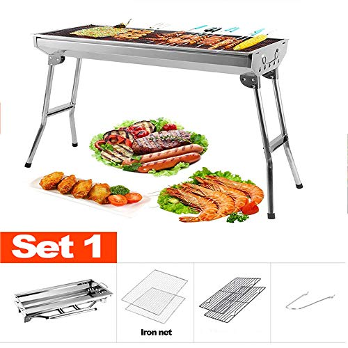 PHASFBJ Outdoor Barbecue Grills, Stainless Steel Portable Charcoal Folding Barbecue Rack BBQ Charcoal Grill Smoker Barbecue for Garden Cooking Camping Hiking Picnics,Set3