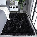 Beglad Soft Faux Fur Sheepskin Area Rug Fluffy Kids Room Carpets Indoor Modern Silky Plush Rugs for Living Room Bedroom Decor Rug Rectangle, 3 x 5 Feet, Black