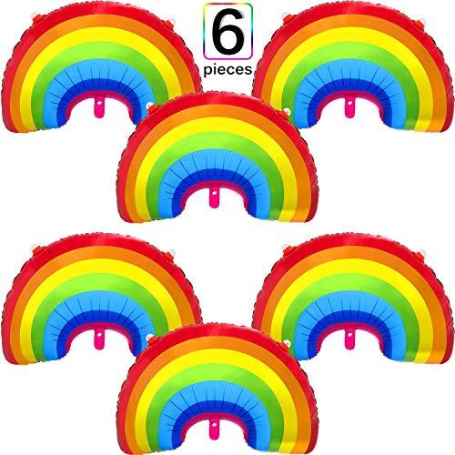 6 Stück Regenbogen Folie Ballon Regenbogenfolie Mylar Luftballons Party Dekoration Größe für Geburtstag Baby Dusche Hochzeit