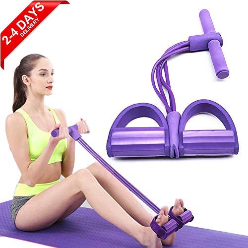 ZCZY Corda elastica da sit-up a 4 tubi Corda multifunzionale Corda da allenamento Pedale fitness Esercitatore addominale per addominali, Vita, Braccio, Stretching Allenamento dimagrante