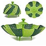 ADMIN 2 unidades de bandeja de vapor ajustable con mango extensible para verduras y frutas, cesta plegable, inoxidable, apta para lavavajillas, comida para bebés (2 unidades de color verde)