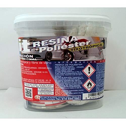 Plainsur - Kit De Reparacion Resina De Poliester Mas Fibra De Vidrio (250 gramos)