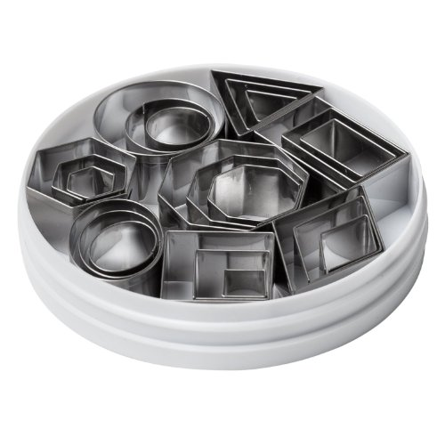 Ateco Plain Edge Geometric Shapes Cutters in Graduated Sizes, Stainless Steel, 24 Pc Set