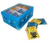 Perfekto24 Teebox - Teekiste aus Metall mit aufklappbarem Deckel - Teedose mit 6 Fächern für Teebeutel als Teebeutelbox und Schmuckkästchen aus Weißblech - kein Aromaverlust - blau