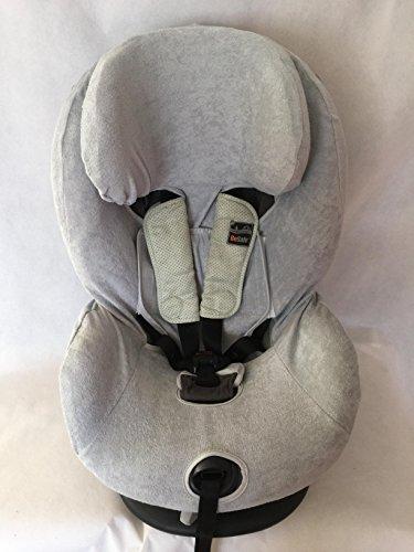 Sommerbezug Schonbezug Frottee für HTS Besafe iZi Comfort X3 Combi X4 Kid X2 Plus Frottee 100% Baumwolle hellgrau