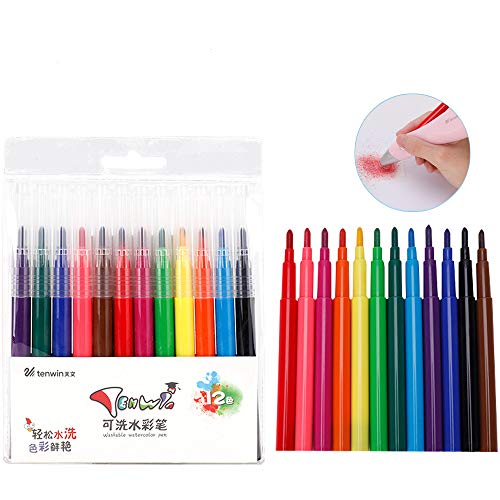 Aibecy 12 piezas lavables pintura de acuarela bolígrafos conjunto de marcadores aerógrafo...